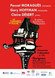 Les Concerts de Poche : Pascal MORAGUÈS clarinette, Gary HOFFMAN violoncelle, Claire DÉSERT piano @ Guignes, salle polyvalente  | Guignes | Île-de-France | France